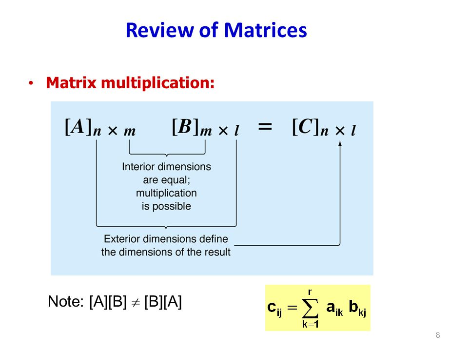 Review of Matrices Matrix multiplication: Note: [A][B]  [B][A]
