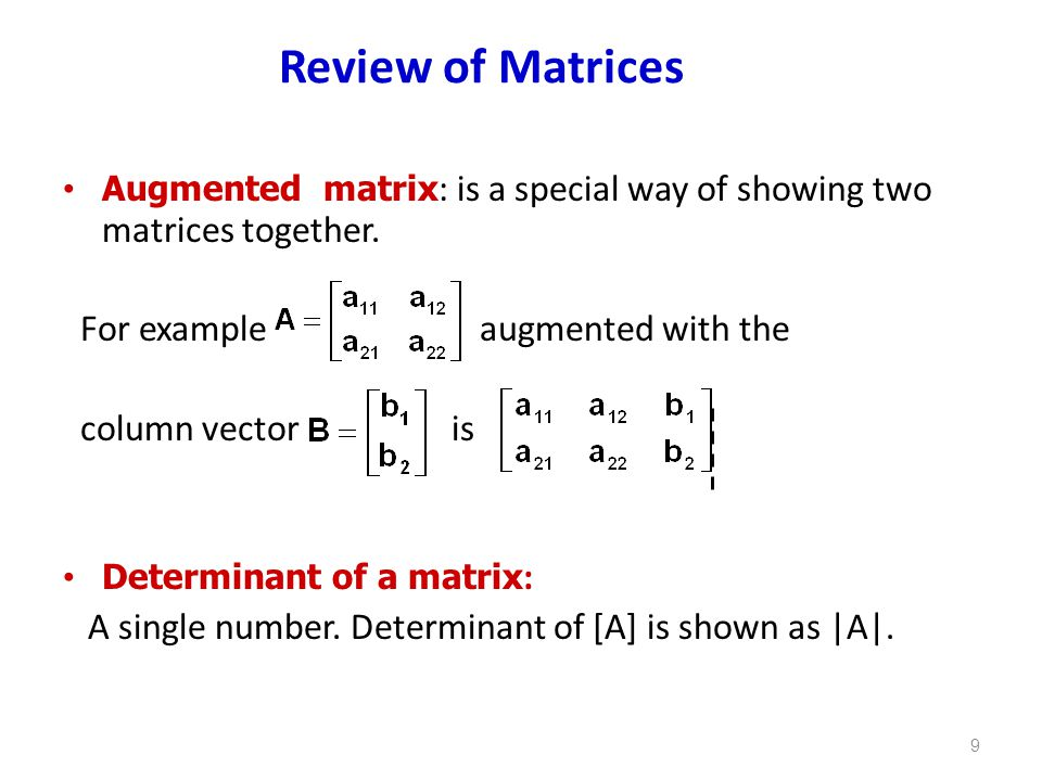 Review of Matrices For example augmented with the column vector is