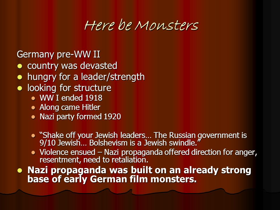 Here be Monsters Germany pre-WW II country was devasted