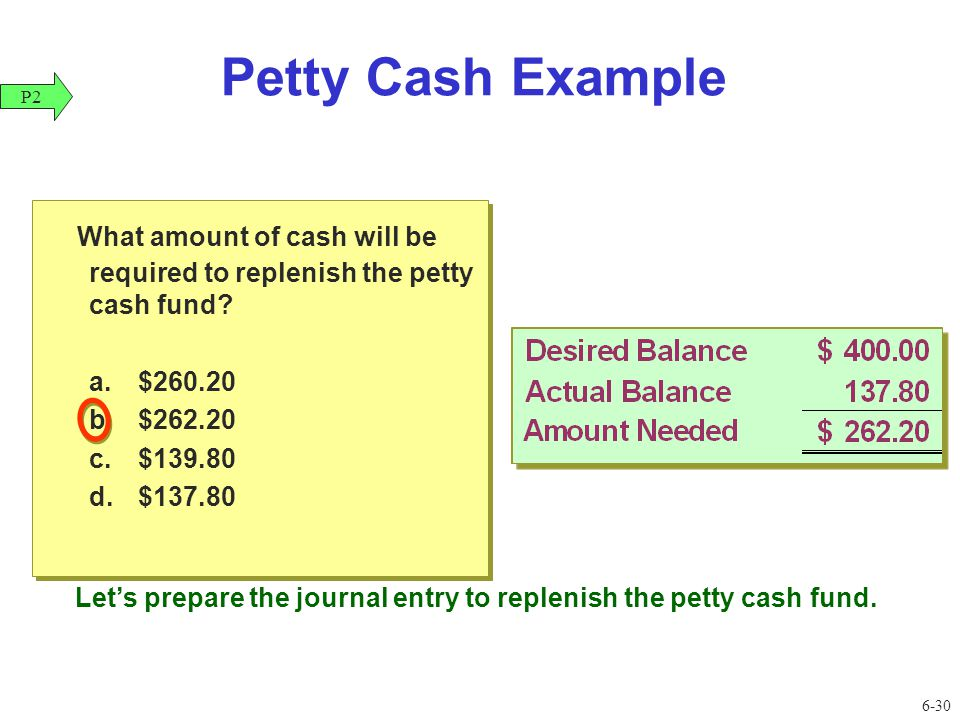 replenishing the petty cash fund requires