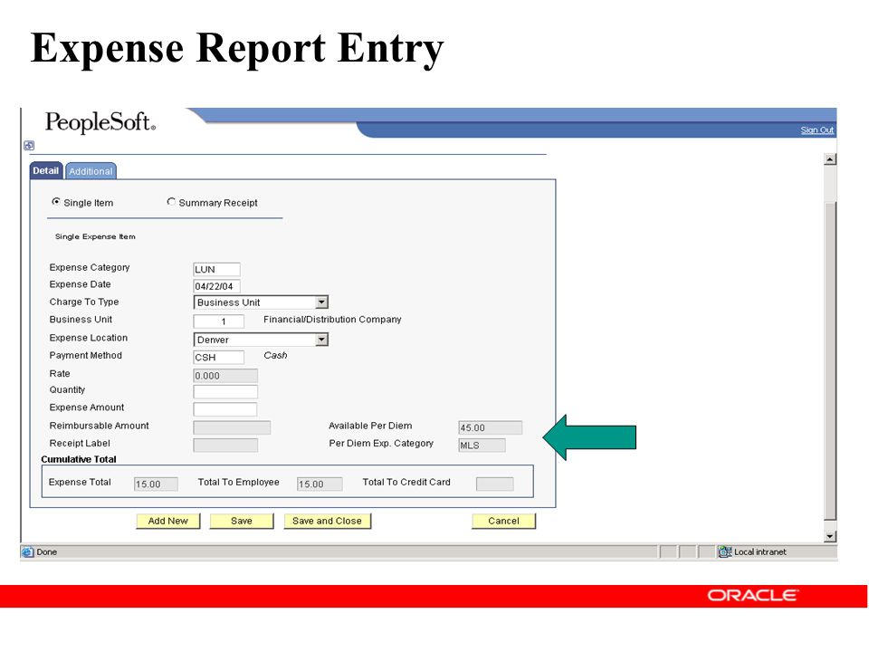 Expense Report Entry As you enter expenses against a per diem expense category, the system reduces the amount of Available Per Diem.