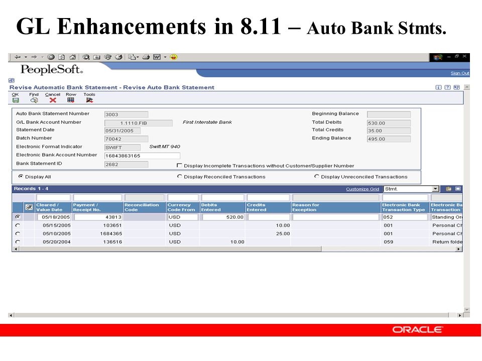GL Enhancements in 8.11 – Auto Bank Stmts.