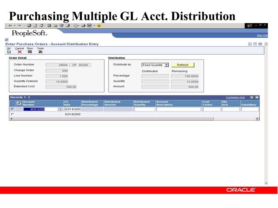 Purchasing Multiple GL Acct. Distribution