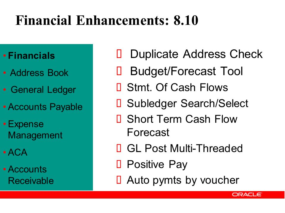 Financial Enhancements: 8.10