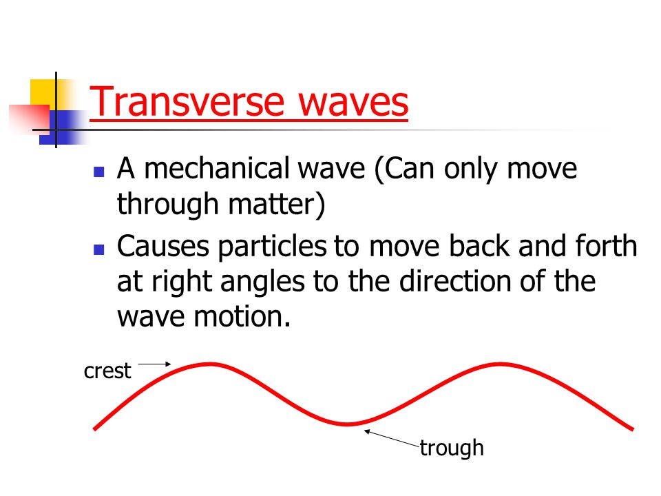 Transverse waves A mechanical wave (Can only move through matter)