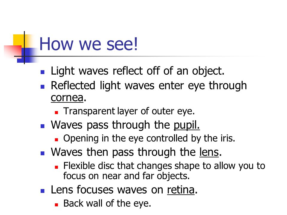 How we see! Light waves reflect off of an object.