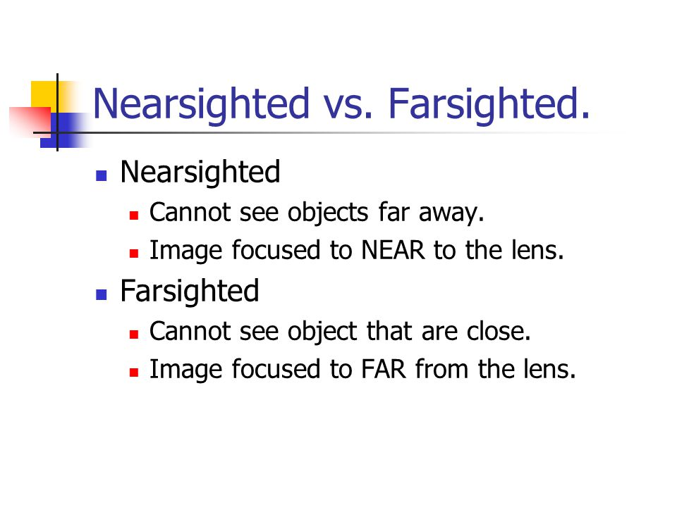 Nearsighted vs. Farsighted.