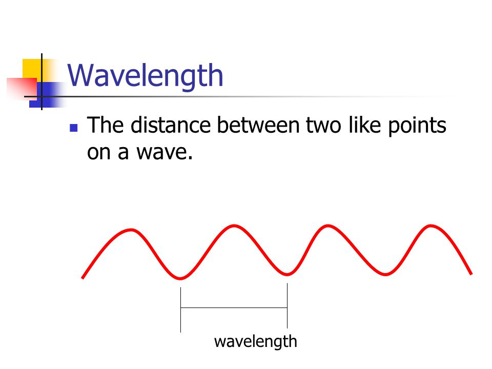 Wavelength The distance between two like points on a wave. wavelength