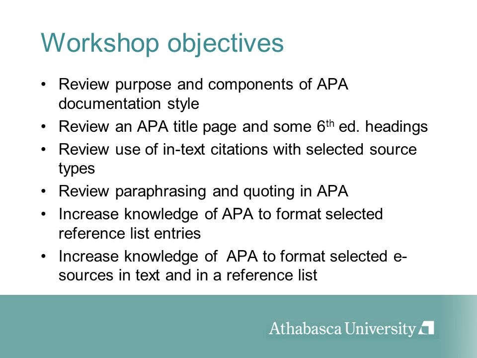 workshop objectives review purpose and components of apa documentation style review an apa title page