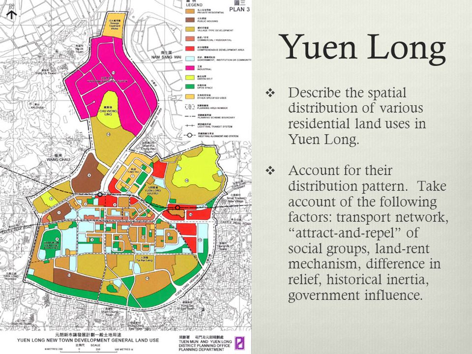 Yuen Long Describe the spatial distribution of various residential land uses in Yuen Long.