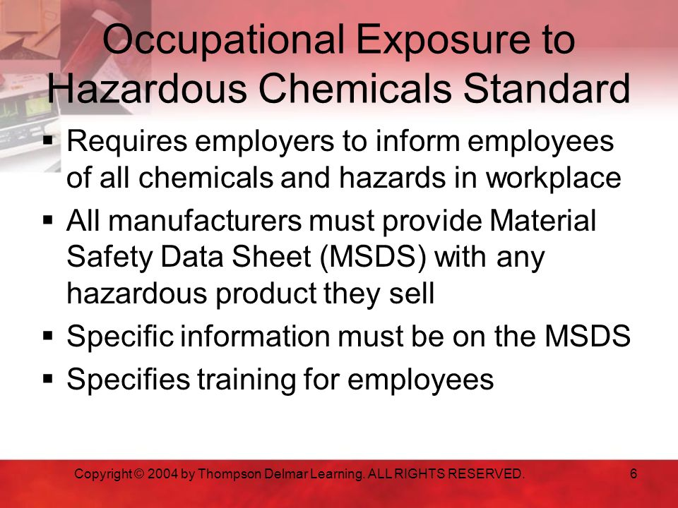 Occupational Exposure to Hazardous Chemicals Standard
