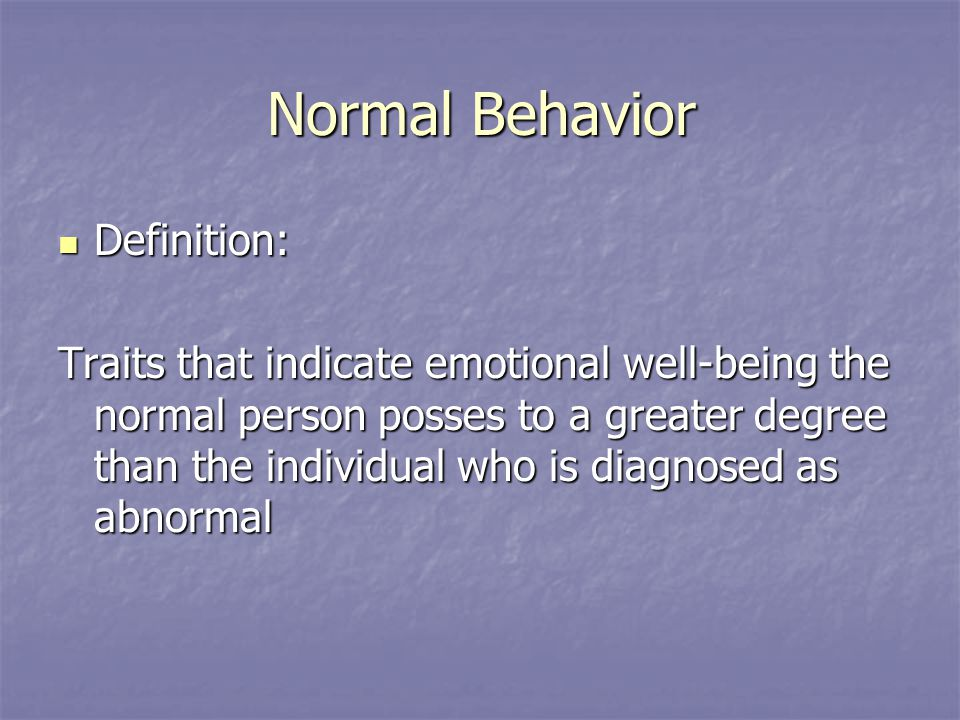 concept of normal and abnormal behaviour