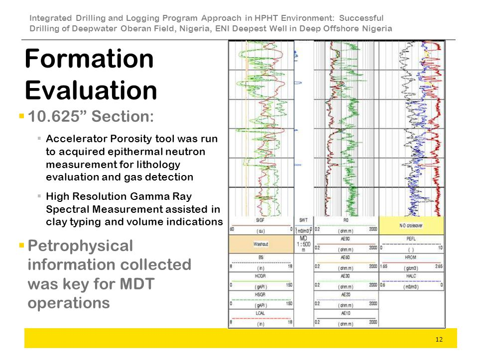 Formation Evaluation Section: