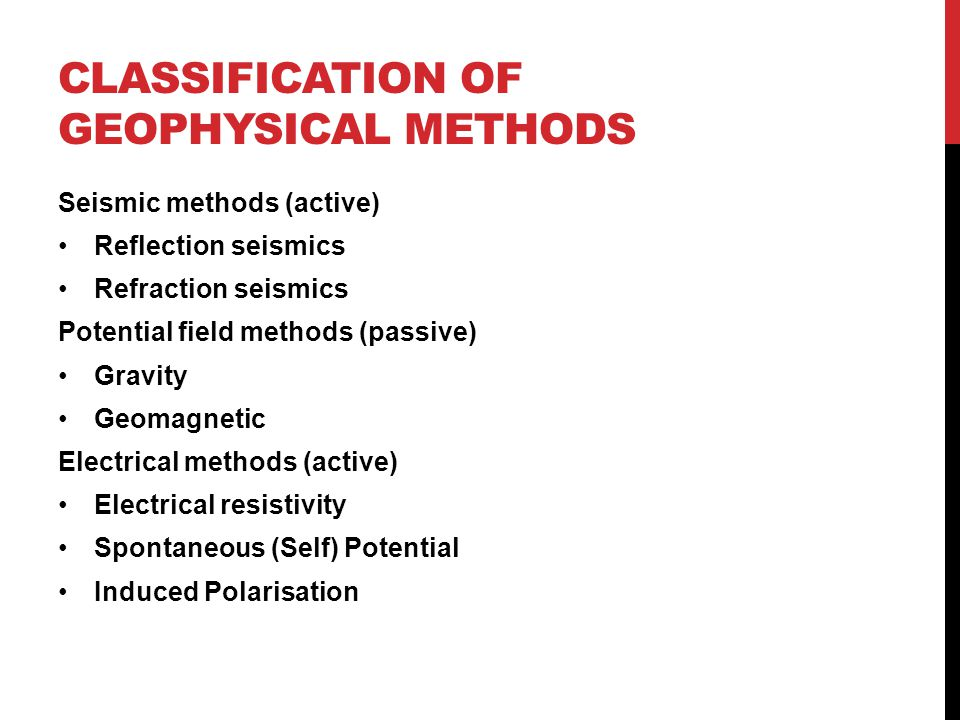 Classification of geophysical methods