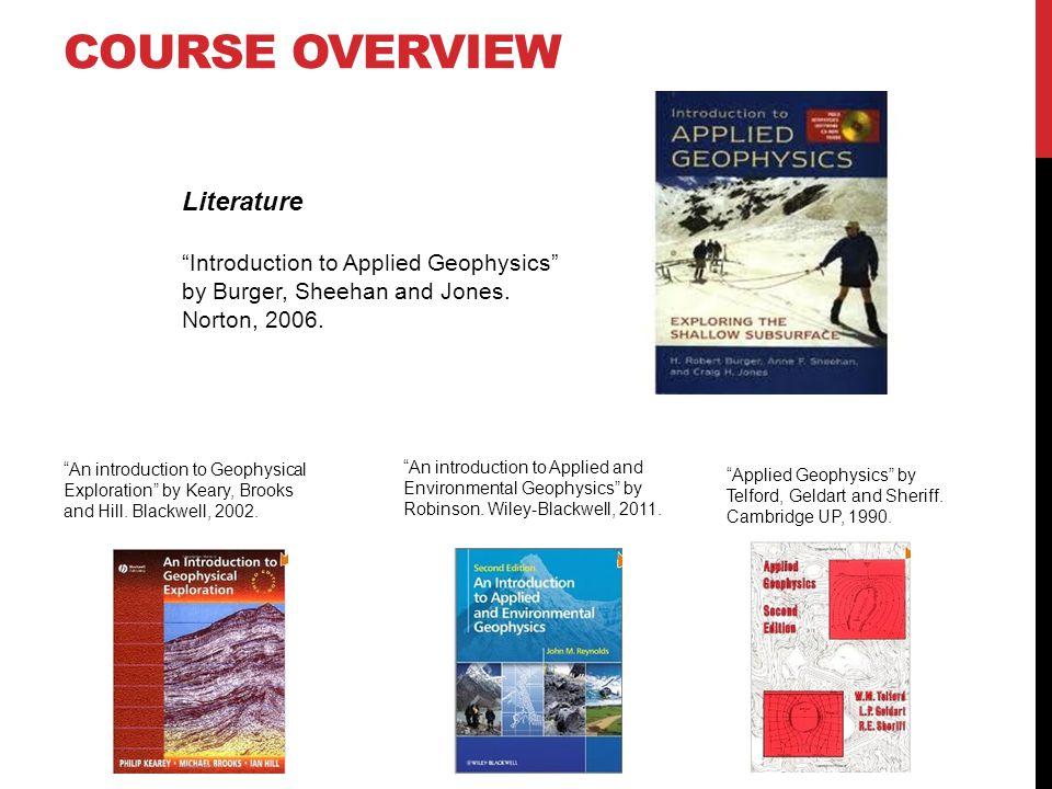 Course overview Literature