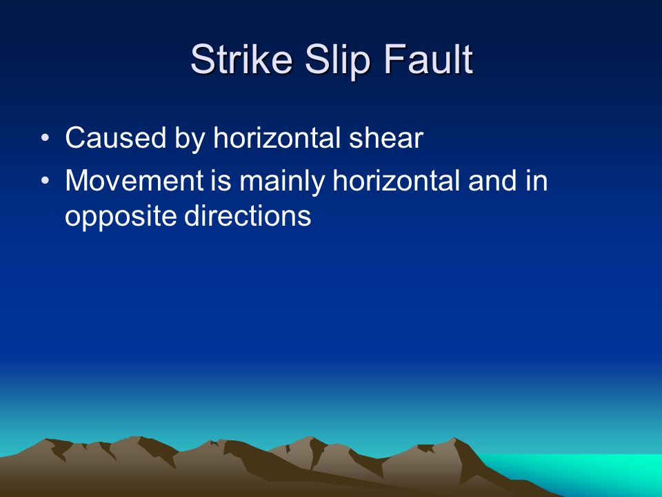 Strike Slip Fault Caused by horizontal shear