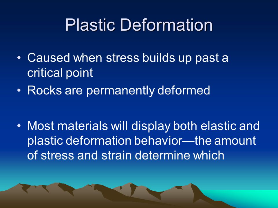 Plastic Deformation Caused when stress builds up past a critical point