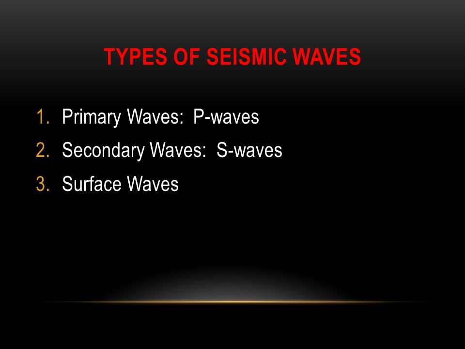 Types of Seismic Waves Primary Waves: P-waves Secondary Waves: S-waves