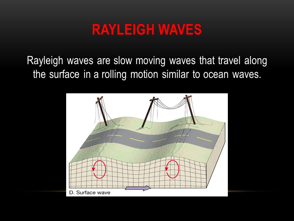 Rayleigh Waves Rayleigh waves are slow moving waves that travel along the surface in a rolling motion similar to ocean waves.