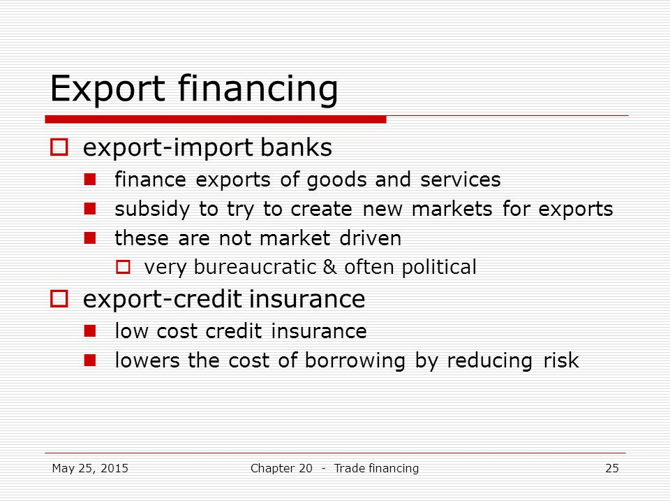 Chapter 20 - Trade financing