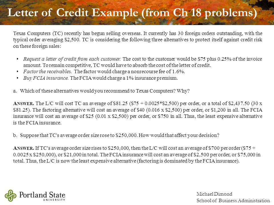 Letter of Credit Example (from Ch 18 problems)