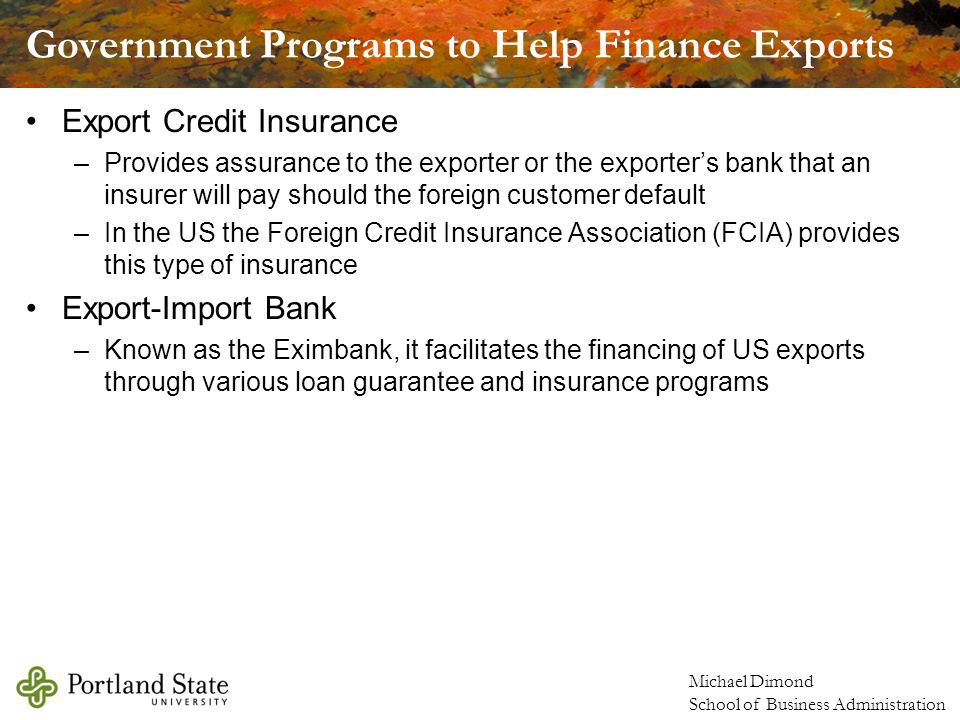 Government Programs to Help Finance Exports