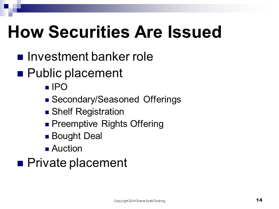 How Securities Are Issued