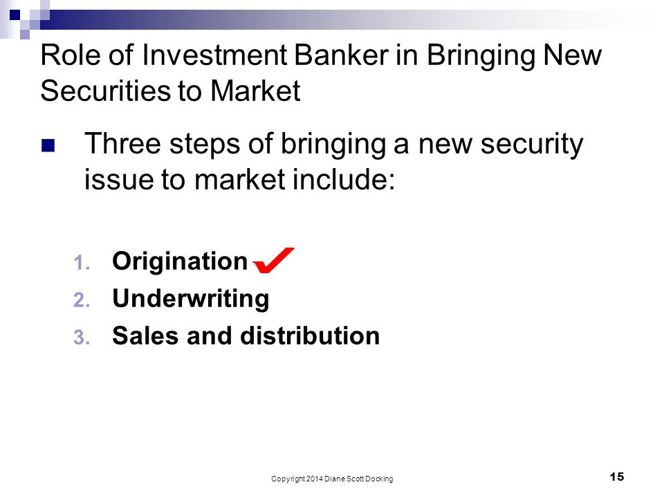 Role of Investment Banker in Bringing New Securities to Market