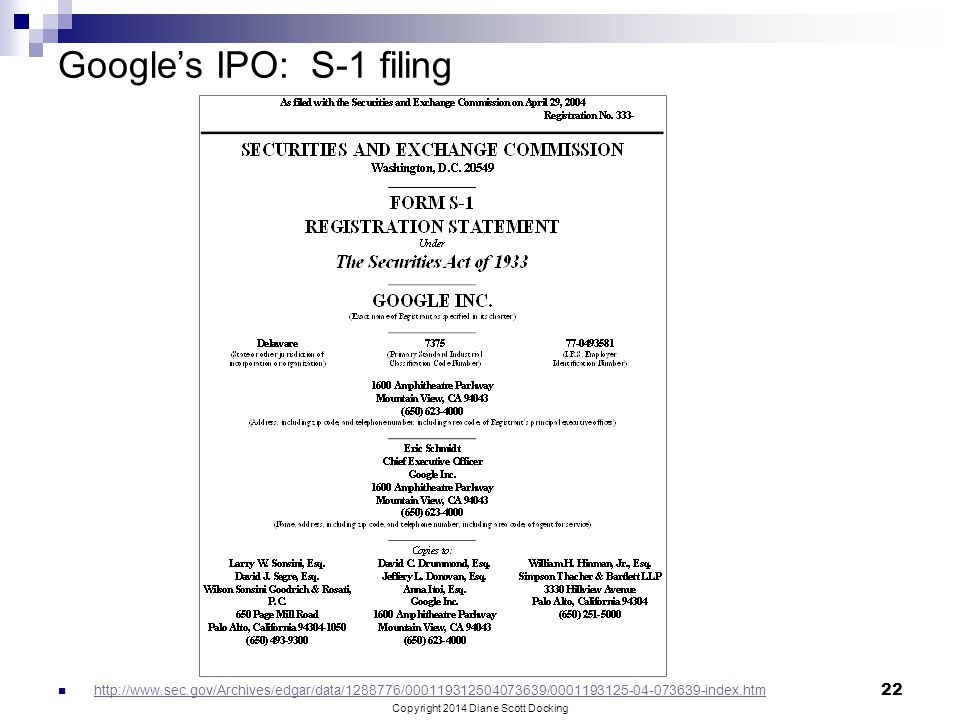 Google's IPO: S-1 filing