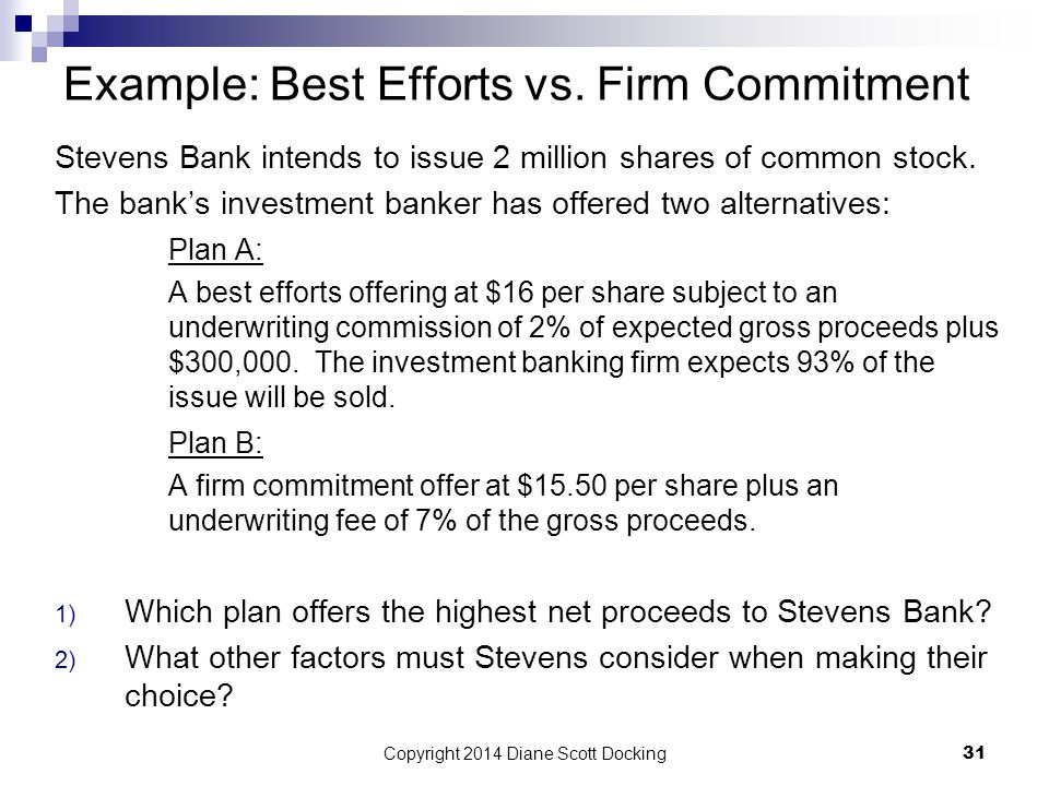 Example: Best Efforts vs. Firm Commitment