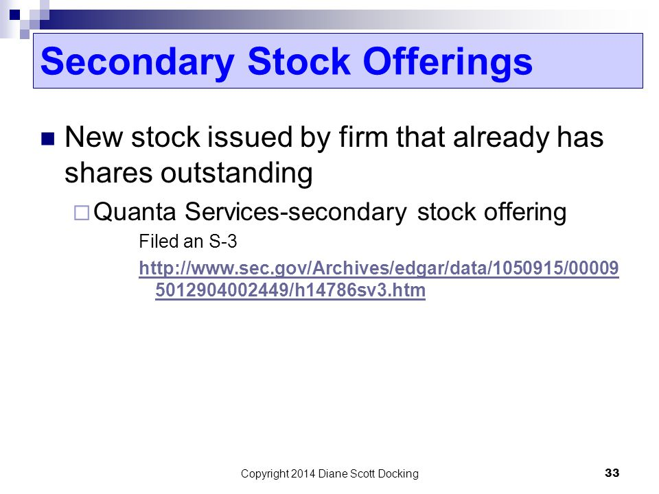 Secondary Stock Offerings