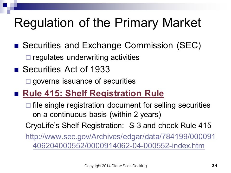 Regulation of the Primary Market