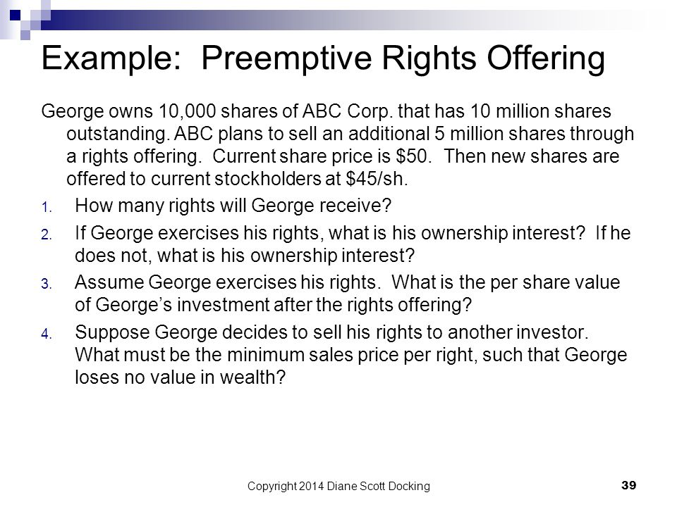 Example: Preemptive Rights Offering