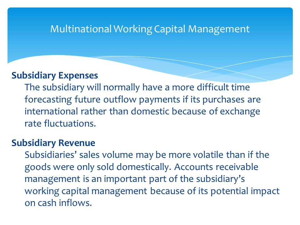 importance of multinational working capital management