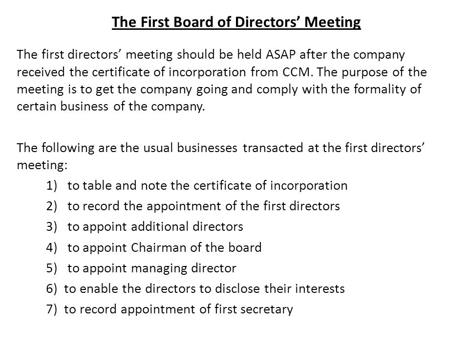 Agenda of first board meeting under companies act 1956