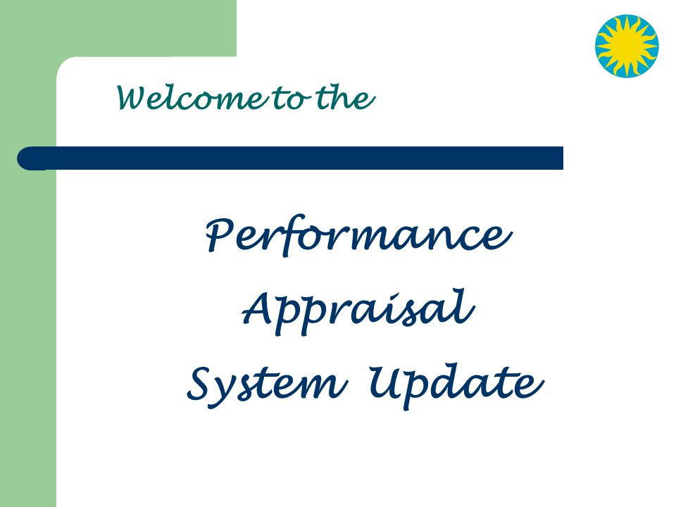 Performance Appraisal System Update