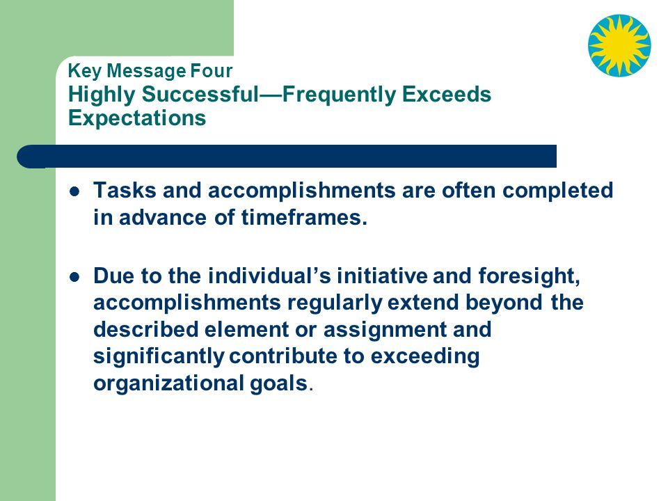 Key Message Four Highly Successful—Frequently Exceeds Expectations