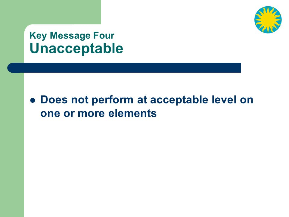 Key Message Four Unacceptable