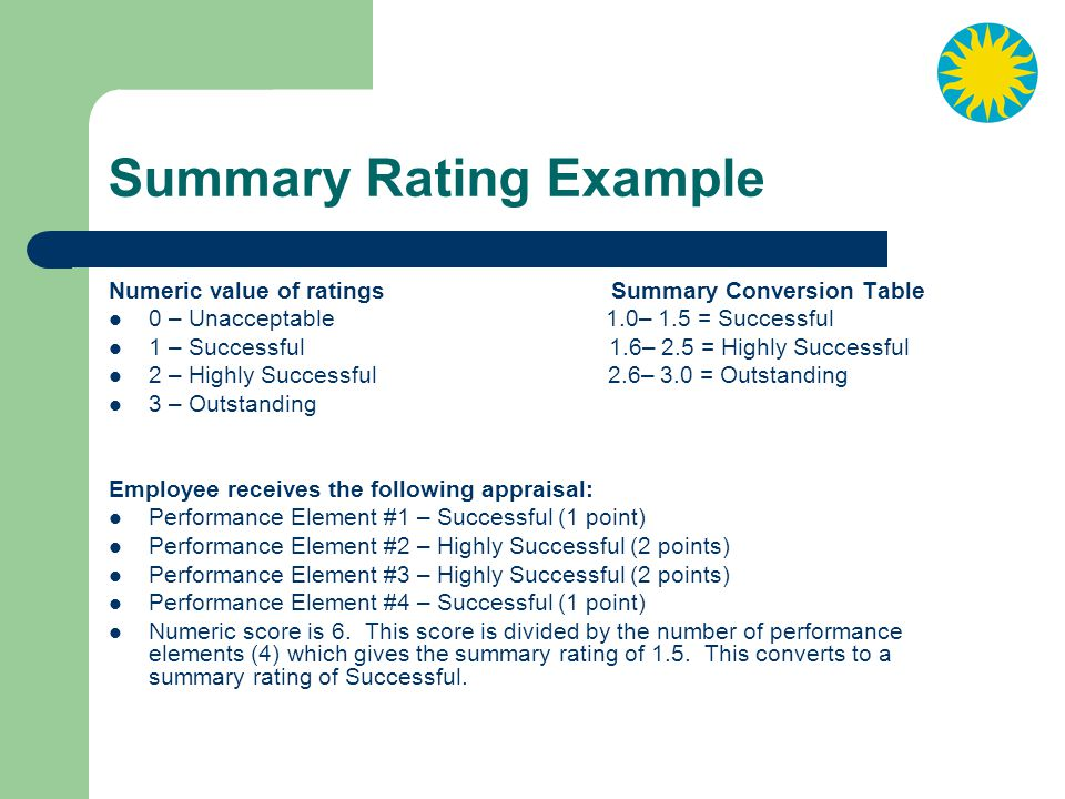 Summary Rating Example