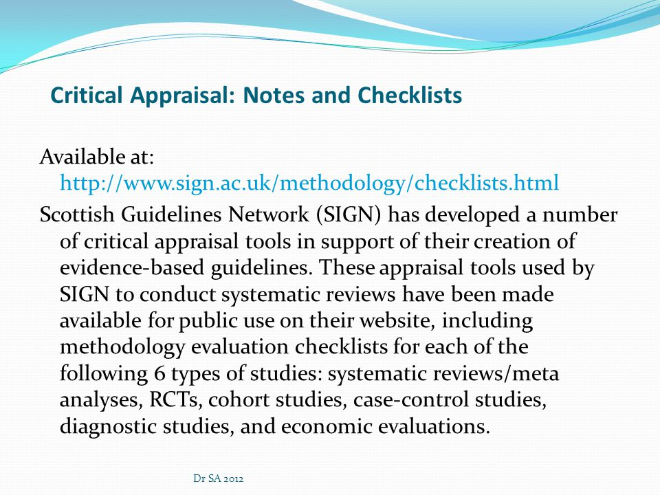 Critical Appraisal: Notes and Checklists