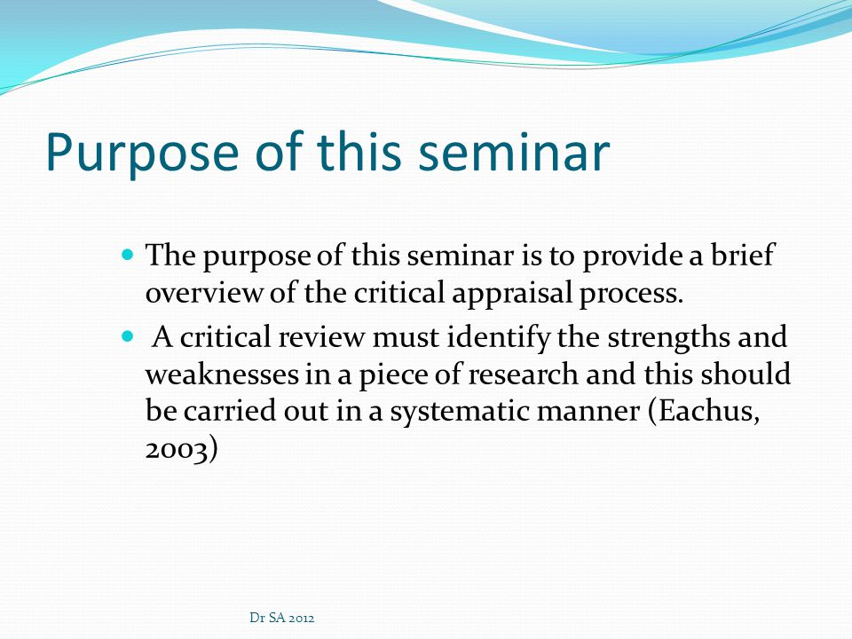 Purpose of this seminar