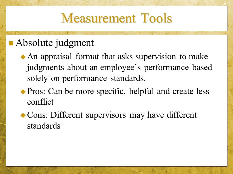Measurement Tools Absolute judgment