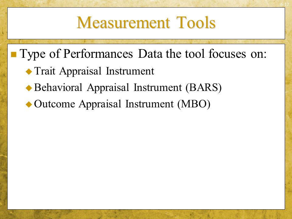 Measurement Tools Type of Performances Data the tool focuses on: