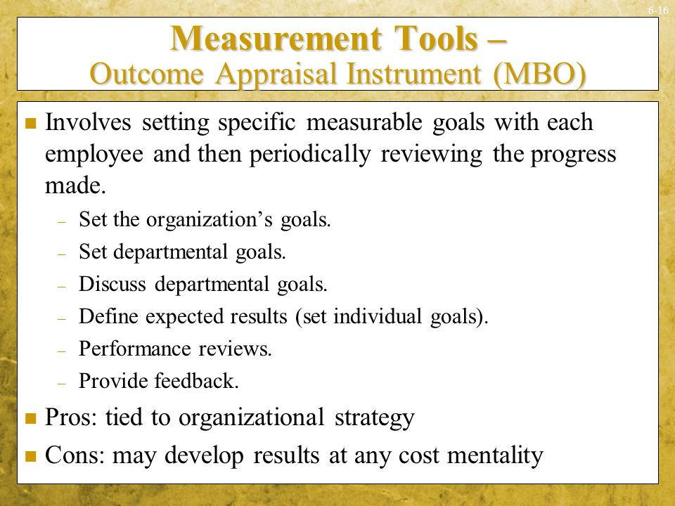 Measurement Tools – Outcome Appraisal Instrument (MBO)