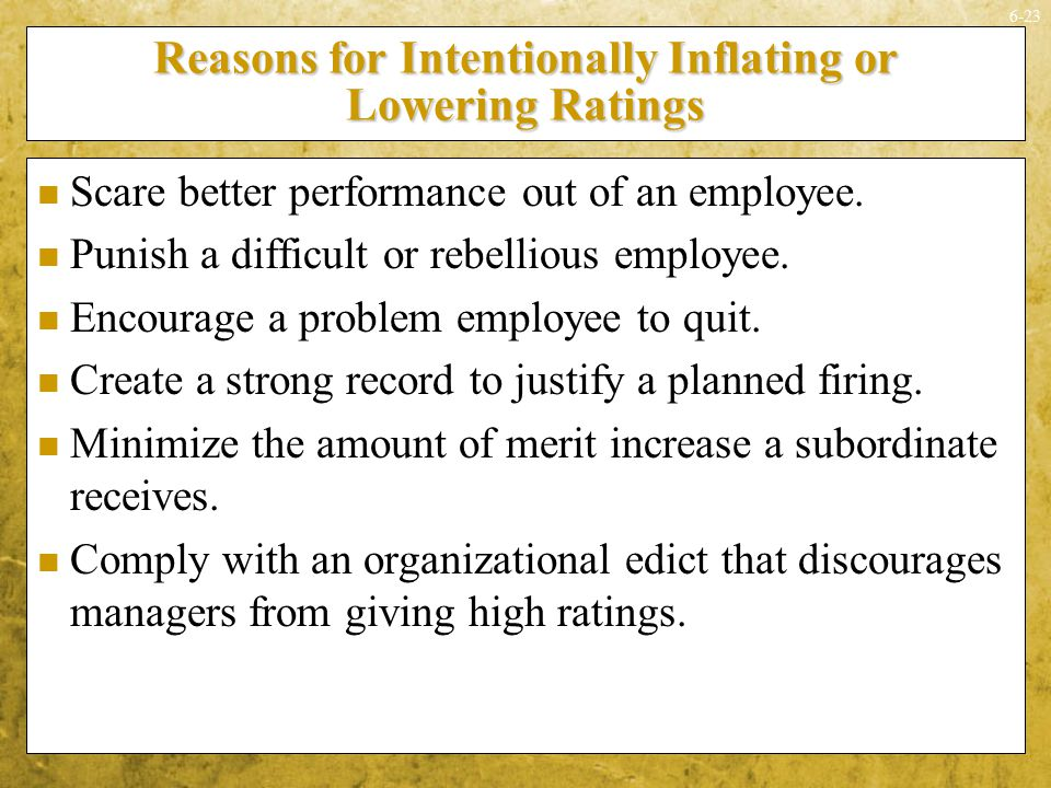 Reasons for Intentionally Inflating or Lowering Ratings