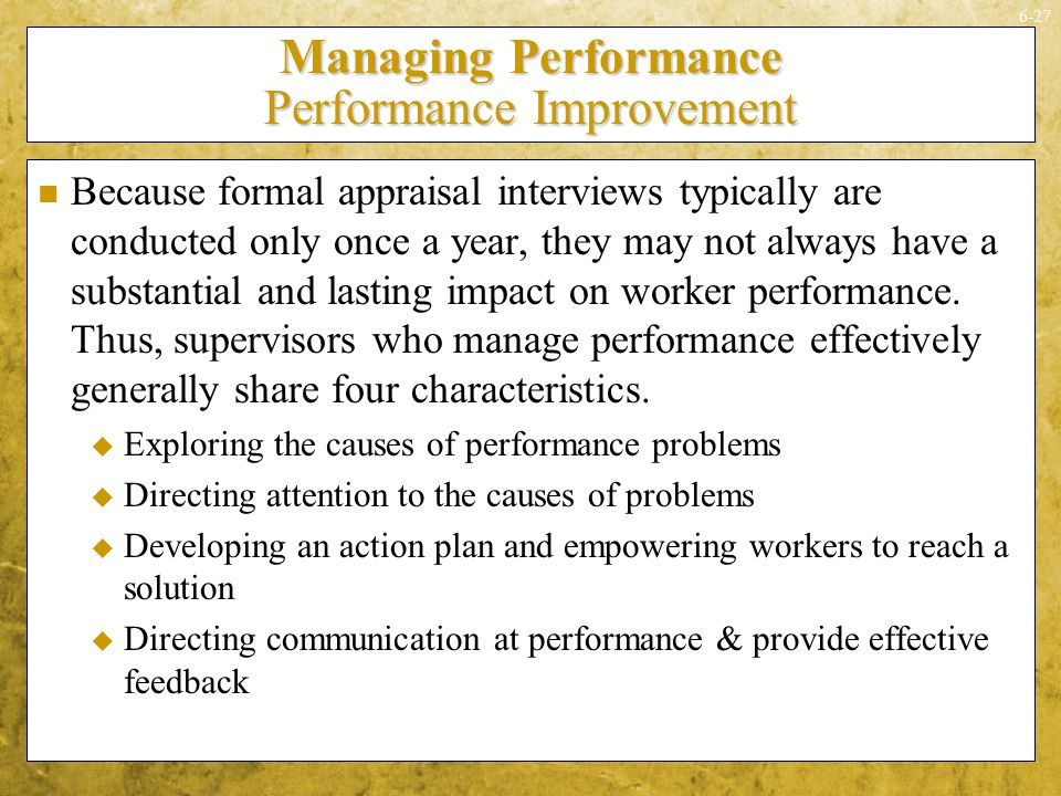 Managing Performance Performance Improvement