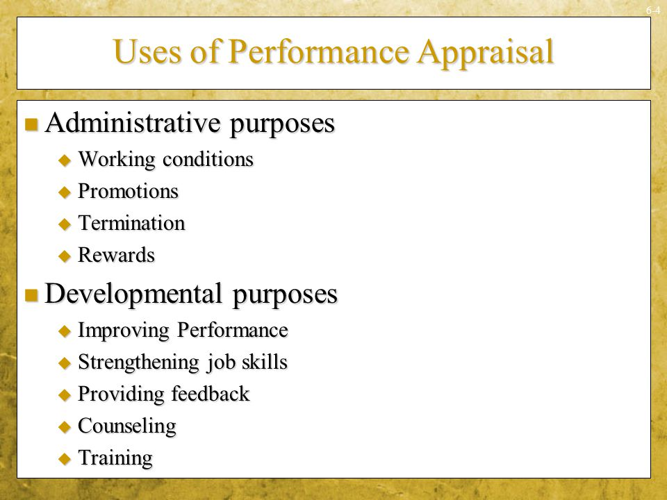 Uses of Performance Appraisal