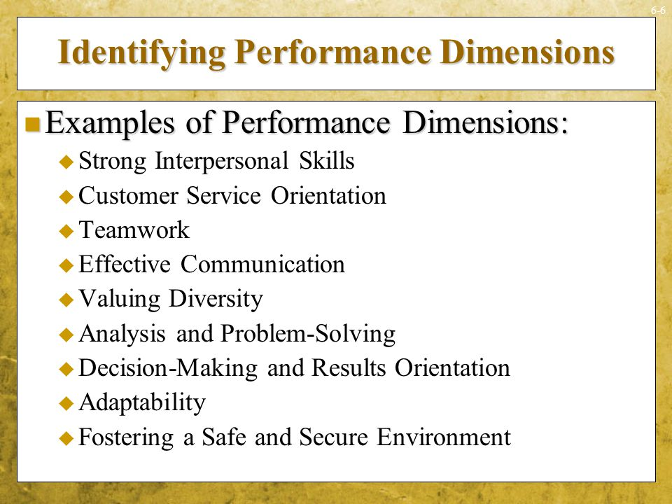 Identifying Performance Dimensions