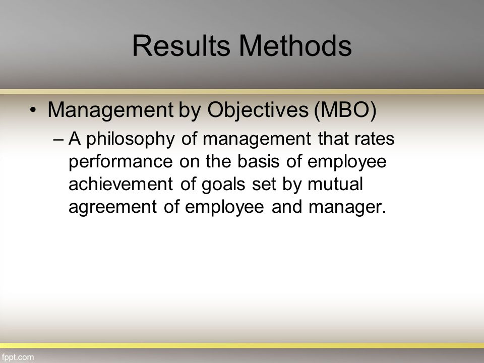 Results Methods Management by Objectives (MBO)