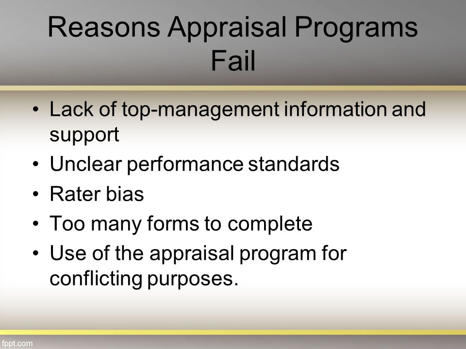 Reasons Appraisal Programs Fail